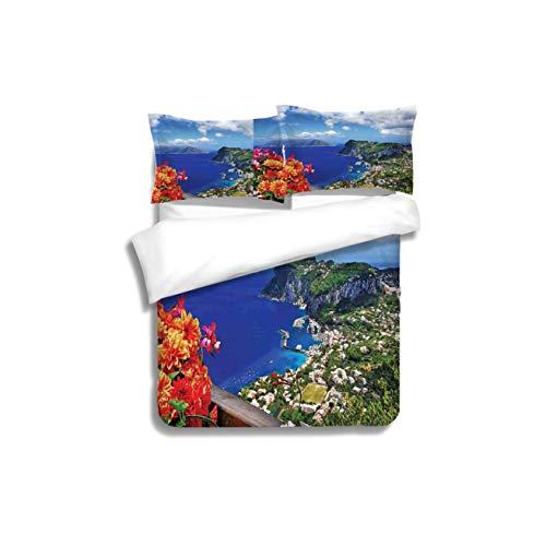 Capri Pillowcases - VROSELV-HOME Kids Quilt 3 Piece Bedding Set,Island Scenic Capri Island Italy Mountain Houses Flowers View from Balcony Landmark Blue Green Bedding Sets,1 Duvet Cover,1 Pillowcase