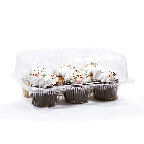 Detroit Forming LBH6656 - 6 Count Deep Clear Hinged Cupcake/Muffin Container - 350 per case