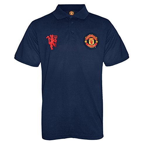 Manchester United FC Official Soccer Gift Mens Crest Polo Shirt Navy XXL