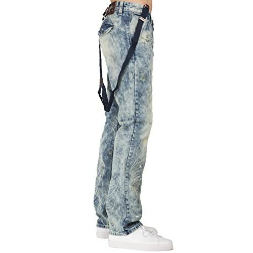 8f25b86bbc Level 7 Men's Lowrise Slim Fit Bleached Blue Jeans with Suspenders on sale