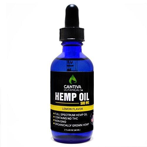 Full Spectrum Hemp Oil Tincture – 2 FL oz 500MG - Lemon Flavor – for Anxiety Relief, Chronic Pain, Sleep, Inflammation, Stress, Mood, Skin, and Hair - Cantiva Botanicals