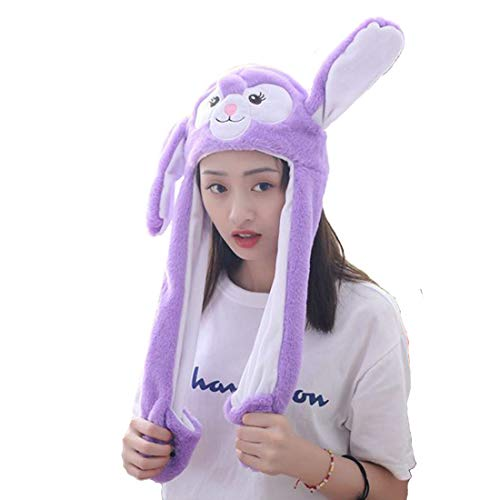 Debbieicy Lovely Costume Props Plush Bunny Hat Cute Animal with Movable Ears-Ideal Gift for Party and Celebrations (Purple Rabbit)