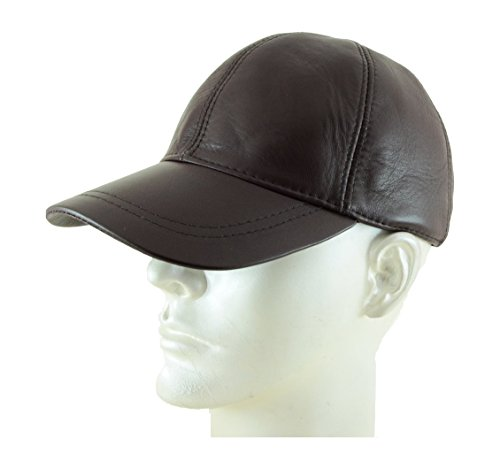 Adjustable Genuine Leather Baseball Cap, Dark Brown