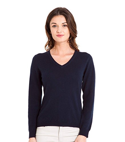WoolOvers Ladies Cashmere and Merino V Neck Knitted Sweater Navy, (Merino V-neck Jumper)