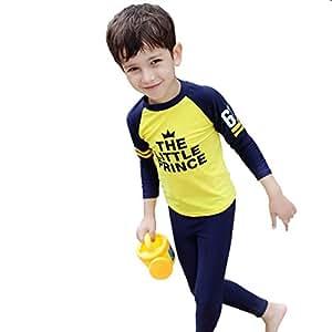 LifeWheel Boys Girls Two-piece Swimsuit Kids Long Sleeve Sun Protection Beachwear Quick Drying Swimwear Age 3-12years