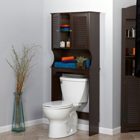 Home Over The Toilet Spacesaver, Traditional Shutter Door Design Espresso Fits Over Most Standard Toilets Open Shelf is Ideal for Storage or Display by AVA Furniture