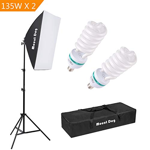 1350W Photography Continuous Softbox Lighting Kit by MOUNTDOG 20'X28' Professional Photo Studio Equipment with 2pcs E27 Socket 5500K Video Lighting Bulb for Filming Portraits Shoot