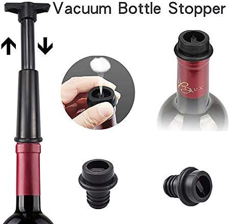DOUBFIVSY Bomba de Vino de Vacío, Bomba de Ahorro de Vino con 2 Tapones para Botellas de Vino, Sacacorchos de Camarero, Vertedor Antigoteo, Mantiene Vino Fresco, Regalo para Amantes del Vino