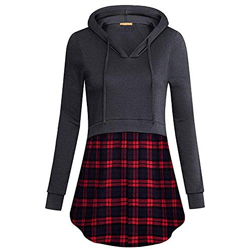 Wintialy Women Plaid Patchwork Hooded Blouse Tunic Sweatshirt Pullover Tops Shirt