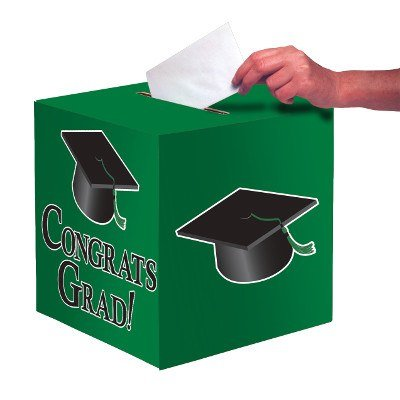 Club Pack of 6 Emerald Green ''Congrats Grad'' Decorative Graduation Party Card Boxes 9'' by Party Central