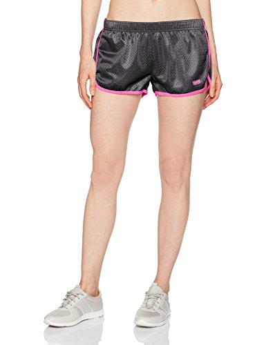 Soffe Mesh - Soffe Women's Juniors Retro Mesh Short, Black/Pink Glow, Medium
