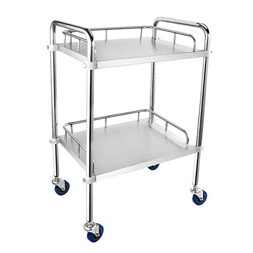 ERRU- 2 Shelf Stainless Steel Utility/Service Cart, Medical Trolley丨Beauty Hairdressing Storage Metal Holder, 70 kg Capacity(45x35x86cm) ()
