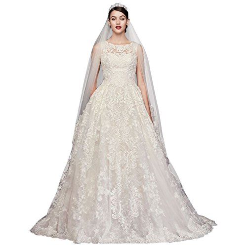 Beaded Lace Wedding Dress with Pleated Skirt Style CWG780, Ivory, 12