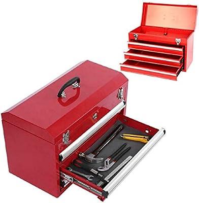 Caja de herramientas portátil con 3 cajones, caja de herramientas de almacenamiento de bolas, organizador de cajonera con asa plegable y cajones abiertos con ruedas, 56,5 x 31 x 37 cm: Amazon.es: