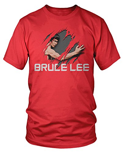 - Amdesco Men's Officially Licensed Bruce Lee Tear Through T-Shirt, Red Large