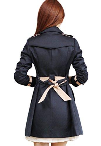 Manteau Manteau Boutonnage Vetements Ceinture Jacket Navy Femme Double d'exterieur Trench Ghope Revers Splice Taille avec Slim de pqtOnwHS