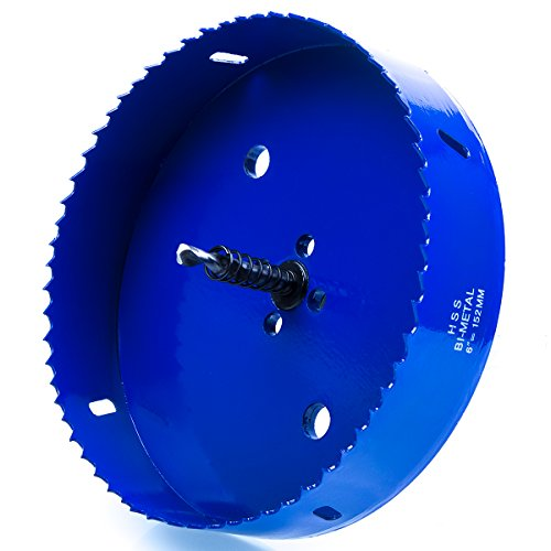 Hole Saw Drill - Eliseo 6 inch 152 mm Hole Saw Blade for Cornhole Boards/Corn Hole Drilling Cutter & Hex Shank Drill Bit Adapter for Cornhole Game/Carbon Steel & BI-Metal Heavy Duty Steel (Blue)