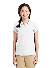 Port Authority® Girls Silk Touch™ Peter Pan Collar Polo. YG503 White XL