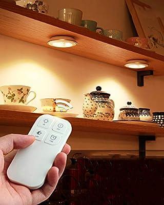 Mmyunx Luz de Paquete de LED inalámbrico bajo iluminación del gabinete con Control Remoto para Cocina, Armario, Escalera, Armario,fourlights: Amazon.es: Hogar