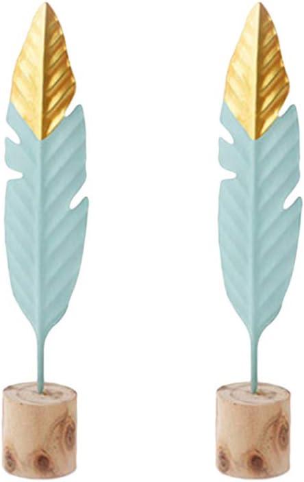 Vosarea 2 piezas de arte de metal de adorno de plumas de hierro para accesorios de fotografía decoración del hogar tamaño m