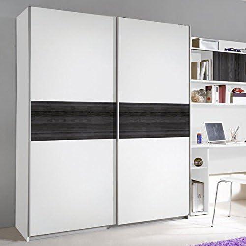 Armario de Puertas correderas Color Blanco/Gris 2 Puertas B 136 cm ...