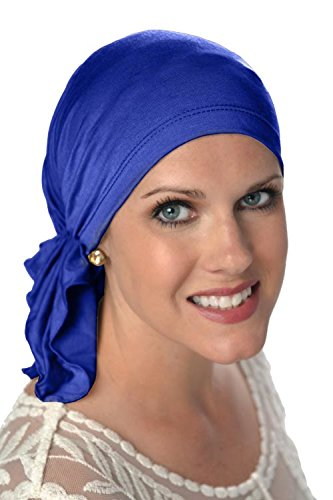 Slip-On Scarf- Caps for Women with Chemo Cancer Hair Loss Royal Blue