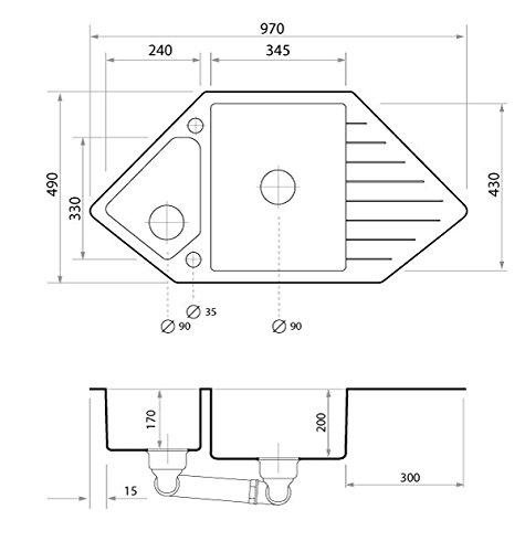 Granitspüle Granitspüle Granitspüle Weiß, 1,5-Becken, Drehexcenter + Siphon, Spülbecken, Küchenspüle, Schrankbreite ab 80 cm efdb56