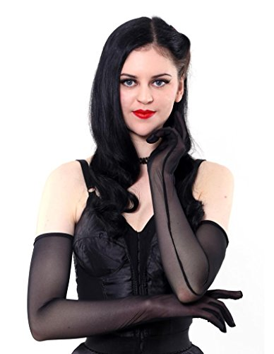 1950s Lingerie - What Katie Did Long Sheer Black Gloves A2016 ONE SIZE