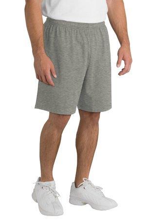 Sport-Tek Men's Jersey Knit Short with Pockets, Heather Grey, Medium