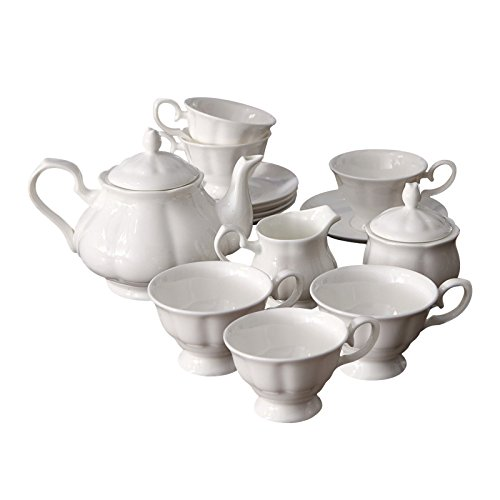 White Milk Pot (ufengke English White Ceramic Bone China 15 Piece Tea Set Tea Service Coffee Set)