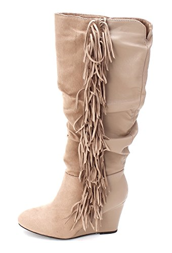 Just Fab Womens Maxime Fabric Closed Toe Mid Calf Fashion Boots  Taupe  Size 6 0