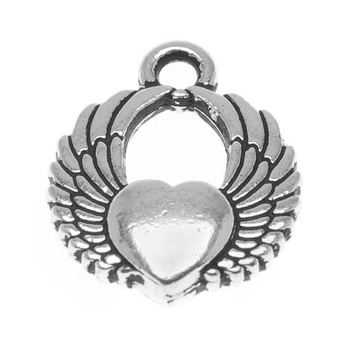 Fine Silver Plated Pewter Winged Heart Charm 17.5mm (Plated Pewter Heart)
