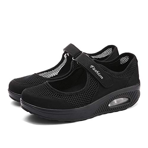 CARENURSE Women Ladies Nurse Shoes Toning Rocker Sneakers for Walking Work Fitness Black