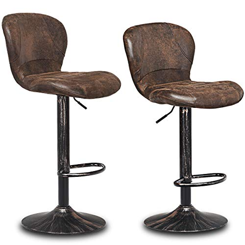 Fantastic Costway Vintage Bar Stool Set Of 2 Armless Air Lift Theyellowbook Wood Chair Design Ideas Theyellowbookinfo
