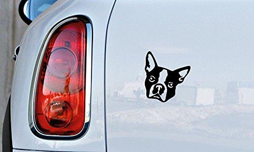 (Dog Boston Terrier Head Version 1 Car Vinyl Sticker Decal Bumper Sticker for Auto Cars Trucks Windshield Custom Walls Windows Ipad Macbook Laptop Home and More (BLACK))