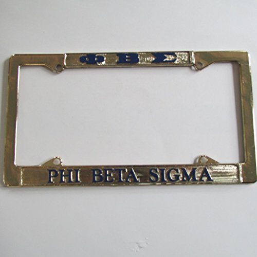 Phi Beta Sigma Fraternity Gold Plated Metal License Plate Frame