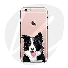 (T Cat) iPhone 6/6S Case Cover, Cute Pet Animal Cartoon Dog (Border Collie)Phone Case,Slim,Shock-Absorption Bumper,Anti-Scratch TPU Soft Case,with Lanyard---Border Collie