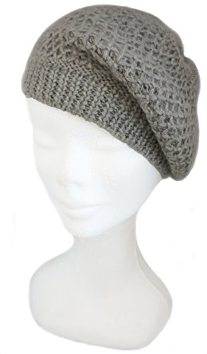 BARBERY Alpaca Accessories Clearance - Knitted by Hand Pure Alpaca French Beret (Gray)