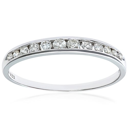Naava Women's 9 ct White Gold 0.25 ct Diamond Channel Set Half Eternity...