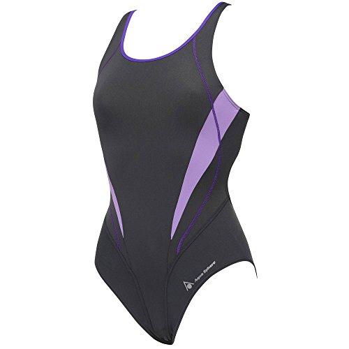 Aqua Sphere Camelia Ladies Open Back Swimsuit, Dark Gray/Lilac, 34 by Aqua Sphere