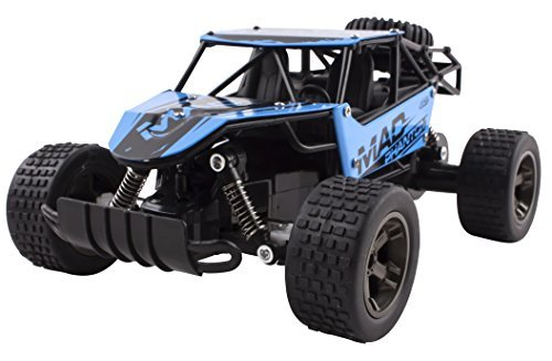 (Mad Turbo Diecast Body Remote Control RC Buggy Car Truck 2.4 GHz System 1:18 Scale Size RTR w/ Working Suspension, High Speed, Radio Control Off-Road Hobby Truggy Rechargeable (Blue))