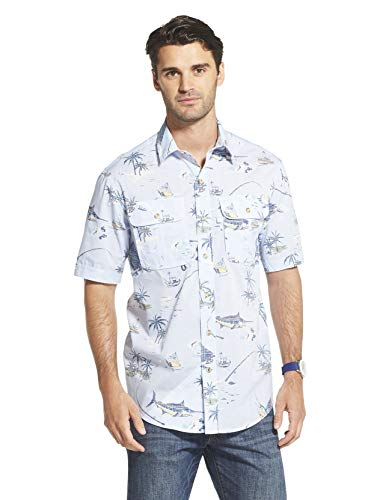 (IZOD Men's Surfcaster Short Sleeve Button Down Patterned Fishing Shirt, Clear air, X-Large)