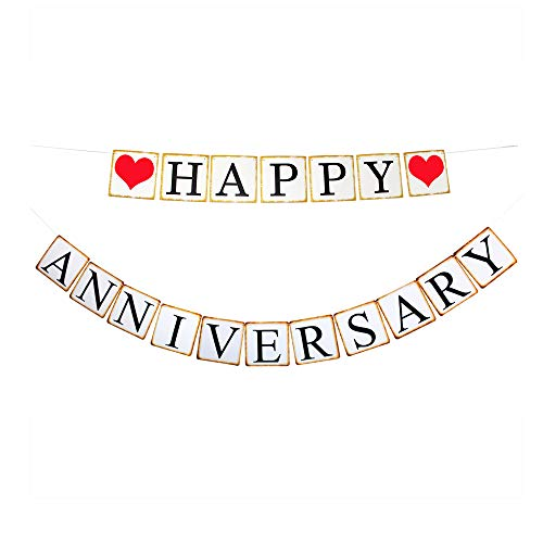 (Happy Anniversary Banner, Wedding Anniversary Party Decorations Sign Photoprops Vintage Style Paper Garland)