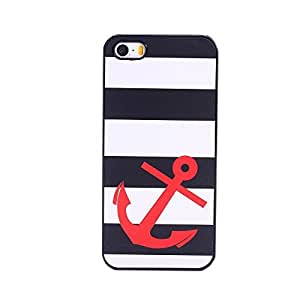 EVERMARKET(TM) Striped Sailer Red Anchor Hard Case Cover for Apple iPhone 5 5S by ruishername
