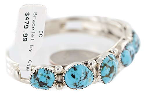 ified Authentic Silver Navajo Natural Turquoise Native American Bracelet 12898 ()