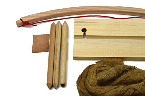 Primitive Fire Bow Drill Fire Starter Kit Deluxe 8 Piece Set Outdoor Activity Training Natural Wooden Friction Educational Learning Spindles Fire-boards Oakum and Jute