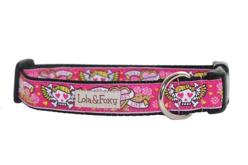 Lola & Foxy Pink Tattoo Dog Collar, Medium