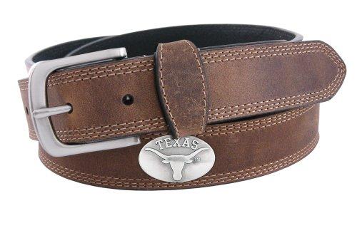 (NCAA Texas Longhorns Light Crazyhorse Leather Concho Belt, Light Brown, 36-Inch)