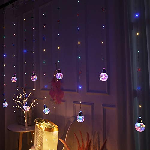 Obrecis Wishing Ball Curtain Twinkle Starry Light 8 Modes USB Remote, Led Window Curtain String Light for Wedding Party, Halloween, Christmas Decorations-8ft x 3ft(Four Color) ()
