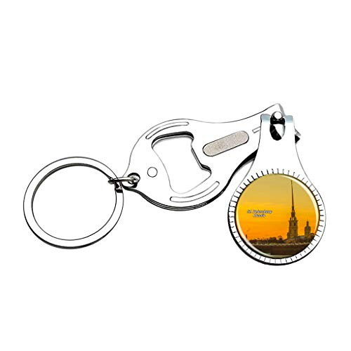 Hqiyaols Keychain Russia St. Petersburg Fortress St. Petersburg Nail Clipper Bottle Opener Nail File Keychain Crystal Stainless Steel Souvenirs Gifts (St Petersburg Office Tag)